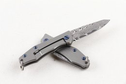 titanium folder knife Promo Codes - 2 Inch Damascus Best Keychain Folder Flipper Folding Pocket EDC Tools Titanium Handle Mini Tactical Knife Outdoor Camping Gift Knives P209R