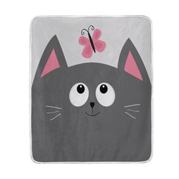 Wholesale king pink blanket - Cute Gray Cat with Pink Butterfly Blanket Soft Warm Cozy Bed Couch Lightweight Coral Fleece Blanket Throw for Kids Women Boy