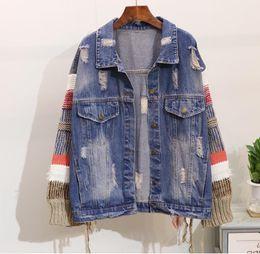 Giacca in denim del manicotto online-2018 New Spring Autunno Donna Lana Lavorazione a maglia cuciture maniche lunghe giacca di jeans Fori femminili Jeans larghi Cappotto Casual Outwear