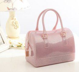Wholesale Crystal Blue Candy - New jelly bag candy color transparent crystal handbags totes