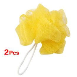 Wholesale Mesh Bath Pouf - GSFY-2 Pcs Yellow Foam Bubble Puff Shower Pouf Soft Nylon Mesh Net Bath Ball