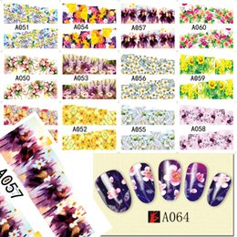 Wholesale Flower Water Decals - Art Stickers Decals 48 designs Mixed 2017 New Nail Sticker Water Transfer Flowers DIY Tips Beauty Manicure Nail Art Decorations