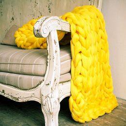 forro tejido Rebajas Línea gruesa suave Hilo gigante Manta de punto Tejido hecho a mano Accesorios de fotografía Crochet Mantas de ropa Decoración para el hogar Manta de sofá