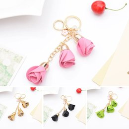 Wholesale Leather Flower Rings - Lovely Flowers Alloy Artificial Leather Key Ring Charming Pendant Purse Bag Key Ring Chain For Gift