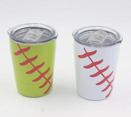 Wholesale Baseball Mini - 2018 New 8.5oz Mini Tumbler Baseball kids cups wine glasses Stainless Steel Travel Beer Mug with straws Student cups no Vacuum Insulated