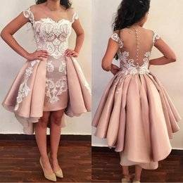Wholesale Sexy Mini Maternity Dresses - Blush Pink Overskirts Short Cocktail Dresses 2018 Off The Shoulder White Lace Applique Backless Prom Gowns For Graduation Homecoming Wear