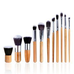 Pinceles de maquillaje de mango de aluminio online-11 unids / set Bamboo Handles Set de pinceles de maquillaje Ambiental Thick Aluminum Tube Face Eye Foundation pincel de maquillaje con bolsa de maquillaje