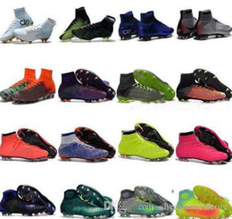 Wholesale Yellow Lace Up Boots - High Top Mens Kids Soccer Shoes Mercurial CR7 Superfly V FG Boys Football Boots Magista Obra 2 Women Youth Soccer Cleats Cristiano Ronaldo
