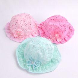 558df4f1149 1Pcs Hollow Bowknot Baby Hats Summer Infant Girls Bucket Hat Child Lace  Flower Coon Sun Cap