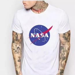 Detalhes de impressão on-line-T-shirt dos homens Detalhe do produto T-shirt do espaço da NASA T-shirt retro Harajuku Homens Camisas de algodão Marca de moda Nasa Imprimir T Shirt Homens manga curta