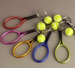 Wholesale Mini Tennis Keychain - 2018 Sporting goods Hot SALE Mini Tennis Racket Pendant Keychain Finder Holer Accessories For Lover's Day Gifts
