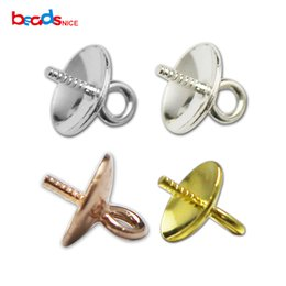 BeadsnPendant Connector Bail for Eye Pins Half Pearl Perla perforada colgante de joyería de plata 925 Sterling Silver ID28796 desde fabricantes