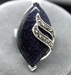 Wholesale Blue Sandstone - RARE BLUE SANDSTONE STERLING SILVER 925 BALI HANDCRAFTED RING SIZE7 8 9 10