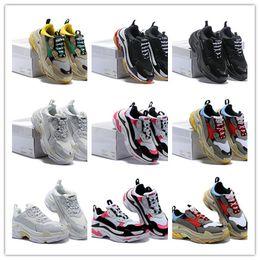 4ecd7921 Mujeres Hombres Rhyton Vintage Trainer-s Fashion Paris Triple s Zapatos de  lujo de punto grueso de punto retro zapatos de día casual tamaño 36-45