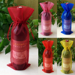 Wholesale Organza Bottle Bags - 14*37cm Organza Wine Bottle Cover Wrap Gift Bags Pouch Bag Sack Xmas Christmas Wedding Party Decoration Supplies