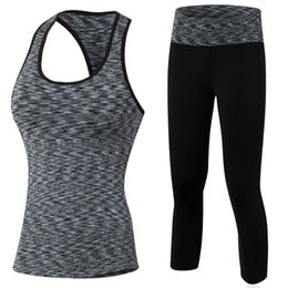 girls sexy leggings Promo Codes - New Sexy Girl GYM Sport Suit Set Quick Dry Compression Fitness Tight Vest Workout Top 3 4 Leggings Female Yoga Tracksuit Set