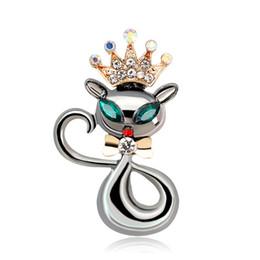 Accesorios de pistola mujer online-Precioso Crown Cat Brooch Pin Black Gun plateado gatito lindo broches accesorios para mujeres