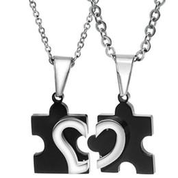 316L Edelstahl Paar Liebevolle Herz Puzzle Anhänger Halskette Für Männer Frauen Modeschmuck Freundschaft Geschenk OGX265 von Fabrikanten