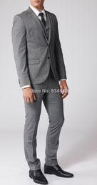 Wholesale Grey Bespoke Tuxedo - 2016 Vintage Tuxedo Wedding Tuxedo Custom Made Sharkskin Suit Slim Fit Gray Bespoke Grey Two-Toned Woven Wedding Suits For Men