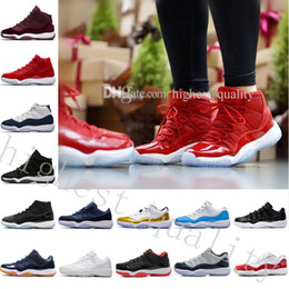 Tessuto vero scamosciato online-Economici New 11 GYM RED Bred CHICAGO ORGINALS QUALITÀ 11S XI REAL MEN SCARPE BASKET OUTDOOR SNEAKERS CON SCATOLA Low Varsity Red GS Heiress