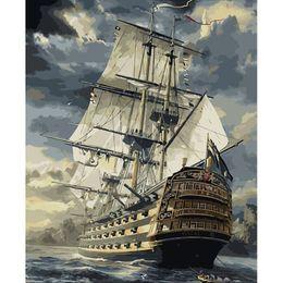 Acrílico pintura paisajes marinos online-Sin marco barco de vela paisaje marino pintura por números kits diy pintura por números acrílico pintado a mano pintura al óleo para la decoración casera