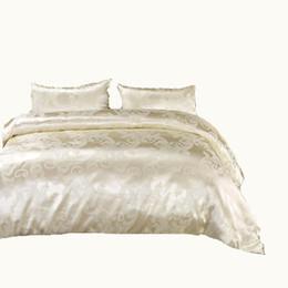 Скидка Luxury Tribute Silk сатинировка Жаккардовые постельные принадлежности Комплект постельного белья Свадебный благородный дворец Комплект постельных принадлежностей Хлопковое постельное белье QUEEN SIZE от