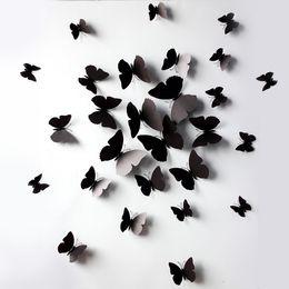 Frigoríficos negros online-Mariposa negra Simulación de mariposa imán de nevera imanes de nevera Etiqueta de la pared o cortina de decoración con Halloween de alta calidad