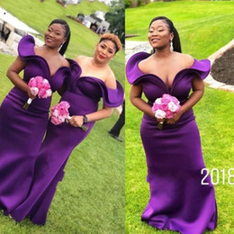 Wholesale Regent Purple Bridesmaid Dresses For Wedding Primavera Estate Off spalla Satin Plus Size Abiti da damigella d onore Abito da damigella d onore africano