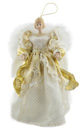 enfeites de natal de 12 polegadas Desconto Ornamento da árvore da boneca da porcelana do Topper da árvore do anjo do Natal de Cosette 12 polegadas (altura de 30 CM)