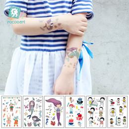 tatuagem bonito dos desenhos animados Desconto EC510-559 Novo 2018 Bonito Dos Desenhos Animados Crianças Crianças Sereia pirata Etiqueta Do Tatuagem Temporária Body Art Flash Falso Taty Tatoo