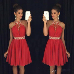 Wholesale Sweet Pink Chiffon Lace Jewel - Little Red Chiffon Beading Cheap Homecoming Dresses Sweet 16 Halter Neck Sleeveless Cocktail Dresses Short Formal Party Gowns Vestido De Fes