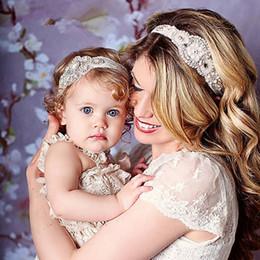 fasce d'ispirazione ispirate Sconti Fashion Mom and Me Corrispondenza della fascia ispirata alla moda Couture di lusso Strass Fasce Elastico Mamma e fascia per capelli per bambini 2 pezzi / set