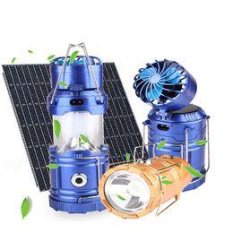 Ventilatore di lanterna online-Luci solari estive alimentate con ventola Carica cellulare USB portatile LED illuminazione solare Torcia elettrica Lanterna a mano Lampada da campeggio esterna