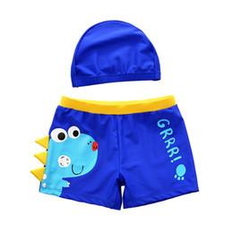 traje de baño coreano azul Rebajas MrY Bebé Trajes de baño Traje de baño de dinosaurio de dibujos animados Los niños nadan pantalones cortos Playa de los niños Pantalones cortos de baño con gorro de baño