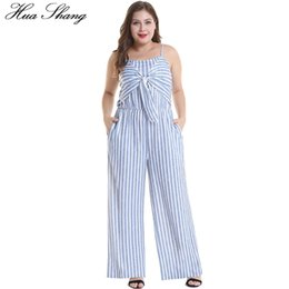 d1f616205c78 Women Summer Plus Size Striped Jumpsuit Casual Strap Empire Waist Bowknot  Maxi Jumpsuits Pockets Wide Leg Backless Sexy Overalls