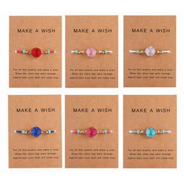 Wünsche schmuck online-Handgemachte Druzy Harz-Stein-Armband Machen Sie einen Wunsch-Karte Wachs Seil geflochtene Armband-Armbänder mit Reis-Korn für Frauen-Mädchen-Sommer-Strand-Schmuck