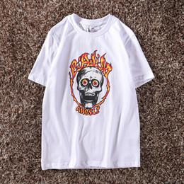 Palma anjos camiseta branca chama esqueleto impressão hip hop tops homens de manga curta algodão skate tee clube camisetas ncy0620 de