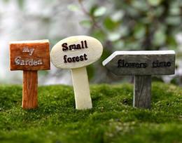 miniature decorative Sconti Resina Artigianato Cartello Cartello Miniature Fairy Garden Gnome Moss Terrarium Decor Bonsai Figurine Micro Landscape