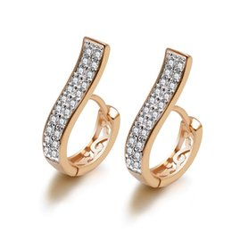 3a656d8cb MxGxFam Mix Gold Color Mirco Inlay CZ 2 line Zricon Round Hoop Earrings For Women  Fashion Cute Jewelry Good Quality
