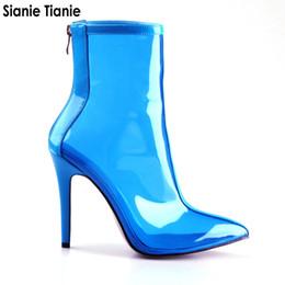 Sianie Tianie 2019 весна осень новый ПВХ прозрачный женщина ботильоны дамы тонкий высокие каблуки пинетки женщины желе сапоги cheap clear pvc heels от Поставщики прозрачные пвх пятки