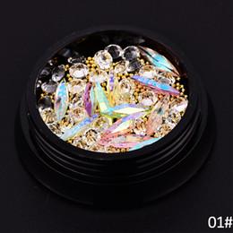 estilos de unhas de acrílico Desconto 9 Estilo Colorido De Cristal Prego Acrílico 3D Nail Art Decoração Manicure Jóias Contas De Cobre Glitter Acessórios Rebite