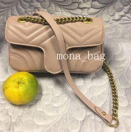 Genuine di lusso in pelle di design cuore Borse Purses Amore V Motivo a onde Satchel Shoulder Bag catena borse borsa Crossbody della borsa della signora Tote da