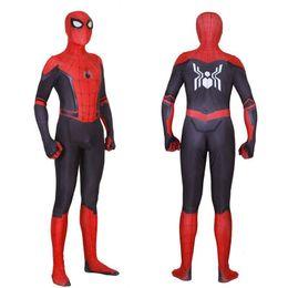 2019 costume fedex Bambini adulti Lontano da casa Peter Parker Costume Cosplay Maschera Zentai Tute Costume di Halloween Uomo Bambini