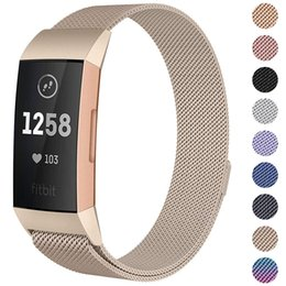 2019 relógio de carga fitbit New Milanese loop strap Para Fitbit cobrar 3 band strap smart watch pulseira pulseira de aço inoxidável relógio esportivo pulseira desconto relógio de carga fitbit