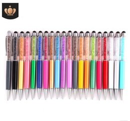 teléfonos con pantalla táctil resistiva Rebajas Venta al por mayor- 2PCS / LOT Cute Crystal pen Diamond bolígrafos Papelería metal toque stylus pen 2 en 1