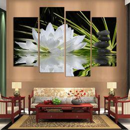 pintura a óleo fundo preto Desconto 4 Painel de Flores bonitas impresso na lona para sala de estar fundo preto 4 painéis home decor wall art pintura a óleo sem moldura