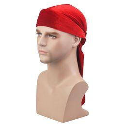 Männer hip hop turban online-Neue Männer Frauen Bandana Samt Turban Hut Durag Hip Hop Headwear Kopftuch Piratenhutlong Headwrap Cap Piratenhut Für Männer Und Frauen