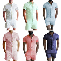 Manches longues en lin en Ligne-Nouveau bouton d'été unique Romper hommes Chemise en lin courte Ensembles simple boutonnage Jumpsuit Mode Salopette Survêtement Pantalon cargo Casual tendance