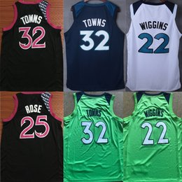 2019 nueva derrick rose Nuevas camisas de camisetas de baloncesto Derrick Rose Karl-Anthony Jersey pueblos Andrew Wiggins Victor Oladipo LaMarcus Aldridge para barato nueva derrick rose baratos