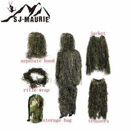 2019 vêtements en tissu multifonction 5 Pcs De Chasse Camouflage Ghillie Costume Secret Chasse Vêtements Sniper Costume Armée Camo Jungle Tactique